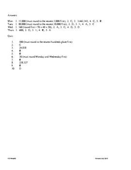 4th Grade Math daily review week 8