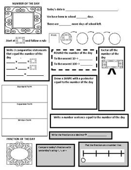 4th Grade Math daily routine sheet