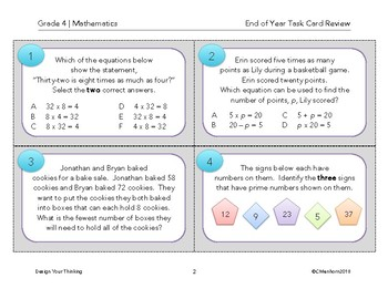 4th Grade Mathematics - End of Year Review Task Cards