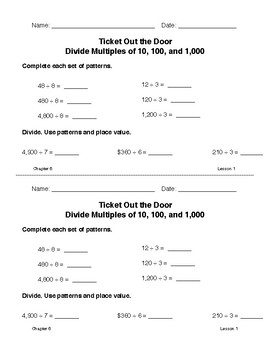 4th Grade McGraw-Hill My Math CHAPTER 6 Ticket Out the Door Exit Slips