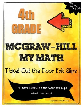 4th Grade McGraw-Hill My Math Ticket Out the Door Exit Slip Pack