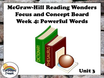 4th Grade McGraw-Hill Reading Wonders Concept Focus Wall Unit 3 Week 4