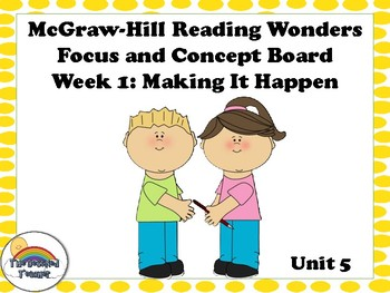 4th Grade McGraw-Hill Reading Wonders Concept Focus Wall Unit 5 Week 1