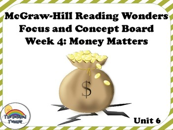 4th Grade McGraw-Hill Reading Wonders Concept Focus Wall Unit 6 Week 4