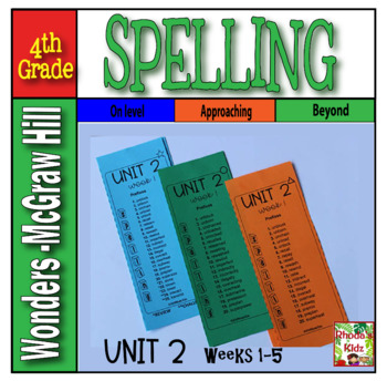 4th Grade McGraw-Hill  WONDERS  Unit 2  Spelling Lists