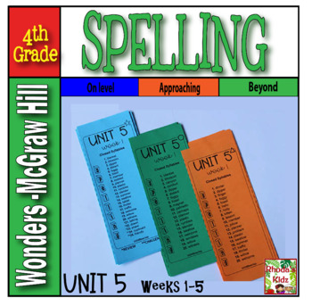 4th Grade McGraw-Hill  WONDERS  Unit 5  Spelling Lists