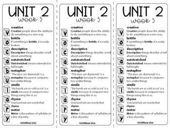 4th Grade McGraw-Hill  WONDERS  Vocabulary Lists  UNIT 2
