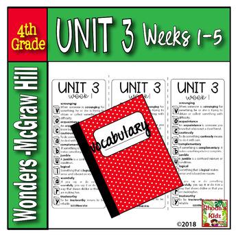 4th Grade McGraw-Hill  WONDERS  Vocabulary Lists  UNIT 3
