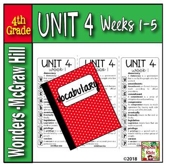 4th Grade McGraw-Hill  WONDERS  Vocabulary Lists  UNIT 4