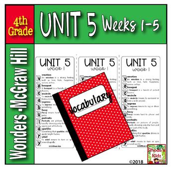 4th Grade McGraw-Hill  WONDERS  Vocabulary Lists  UNIT 5