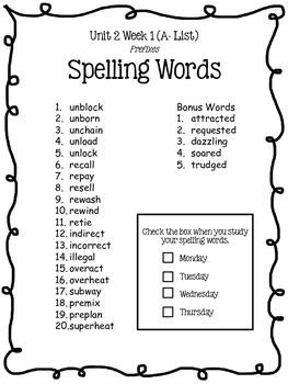 4th Grade McGraw-Hill Wonders Spelling Lists Units 1-6 BUNDLE