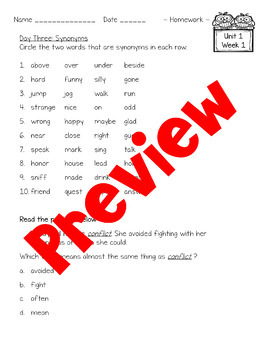 4th Grade McGraw-Hill Wonders Unit 1 Daily Homework
