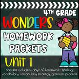 4th Grade Wonders Reading Series Unit 1 Daily Homework