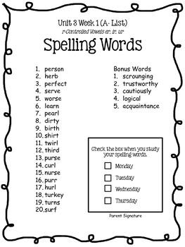 4th Grade McGraw-Hill Wonders Unit 3 Spelling Lists