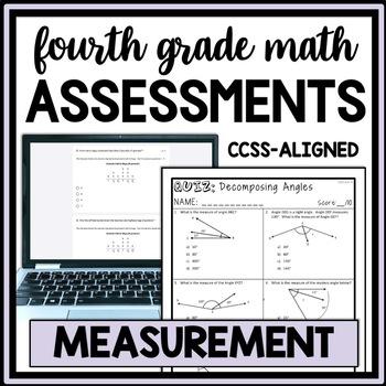 4th Grade Measurement & Data Quiz Bundle, 14 Assessments for all 4.MD CCSS
