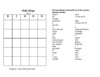 4th Grade--Measurement, Time, and Geometry Bingo Review