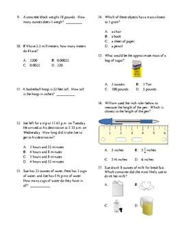4th Grade Measurement Unit Test