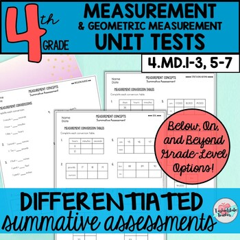4th Grade Measurement Unit Test 4.MD.1, 4.MD.3, 4.MD.5, 4.MD.6, 4.MD.7