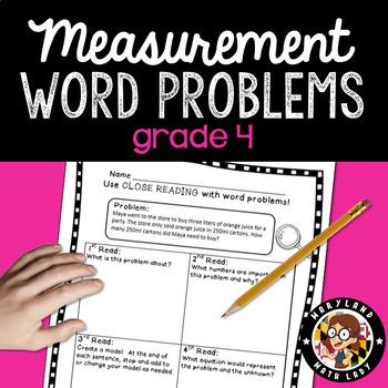 4th Grade Measurement Word Problems - Close Reading!