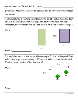 4th Grade Measurement Worksheets, Activities, and Center Cards 4.MD.3 and 4.MD.4