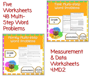 Measurement Word Problems - Capacity, Distance, Time, Money, Mass (4.MD.2)