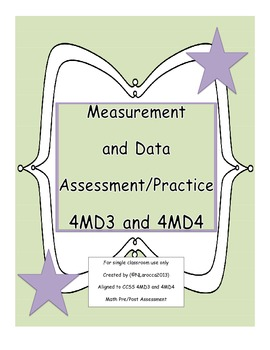4th Grade Measurement and Data Assessment, Practice, or Task Cards 4MD3 and 4MD4