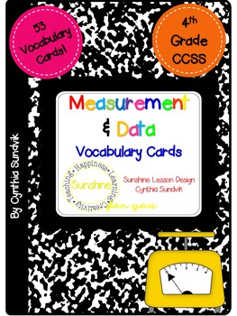 Measurement and Data Vocabulary Cards! Interactive! Definitions and Pictures.