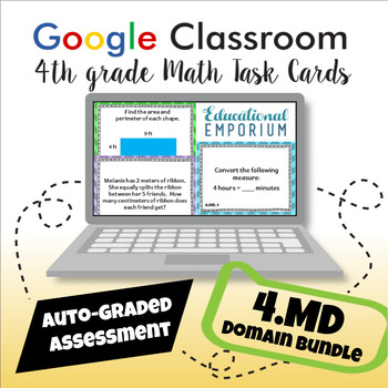 4th Grade Measurement and Data Google Task Cards Domain Bundle