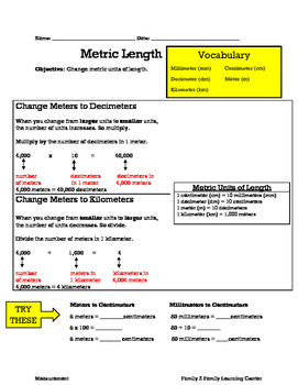 4th Grade Metric Length
