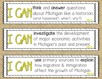 4th Grade Michigan Social Studies (GLCE's)- I Can Statement Posters