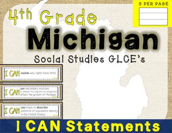 4th Grade Michigan Social Studies (GLCE's)- I Can Statemen