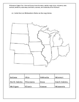 4th Grade Midwest Region Social Studies Geography Assessment or Pretest