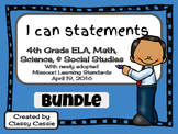 "4th Grade Missouri Learning Standards ""I can"" Statements & Checklists Bundle"