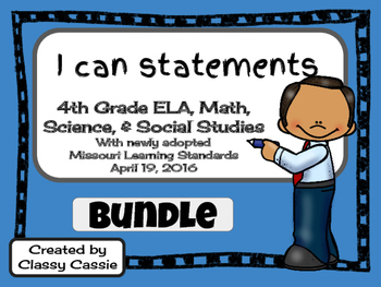 """4th Grade Missouri Learning Standards """"I can"""" Statements & Checklists Bundle"""