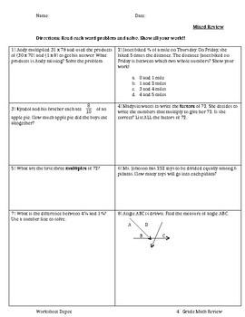 4th Grade Mixed Math Review