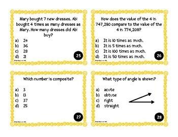 4th Grade Mixed Math Review Task Cards