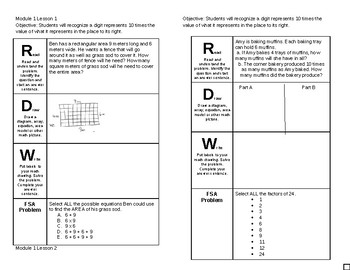 4th Grade Module 1 Lesson 1-10 Journal Pages Engage NY Eureka