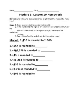 4th Grade Module 1 Lesson 10 Modified Homework- Rounding