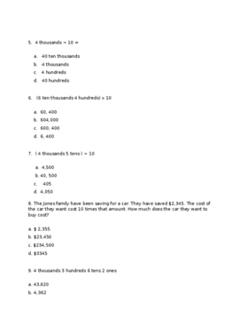 4th Grade Module 1 Lessons 1-4 Test Eureka/Great Minds Math