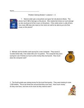 4th Grade Module 1 Eureka Math Problem Solving Lessons 1-6