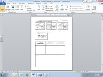 4th Grade Module 2 –End of Module Assessment Review Worksheet