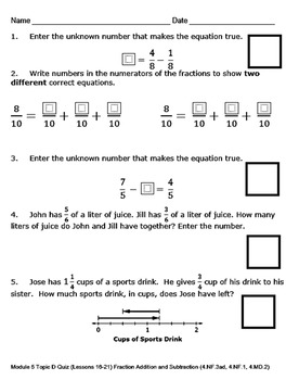 4th Grade Module 5 Quizzes for Topics A to G - Editable