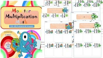 4th Grade {Monster Multiplication) 16-20 Set. *Problems & Answers CC. 4.NBT.B.5