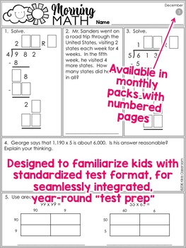 4th Grade Morning Work DECEMBER ~ 4th Grade Math