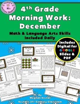 4th Grade Morning Work For December- Math & LA Included