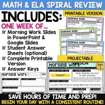 4th Grade Morning Work - ONE FREE WEEK   Math AND ELA