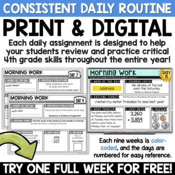 4th Grade Morning Work - ONE FREE WEEK | Math AND ELA