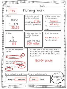 4th Grade Morning Work- Set 2