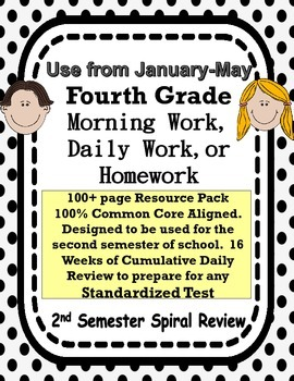 4th Grade Morning Work Spiral Review Common Core Aligned
