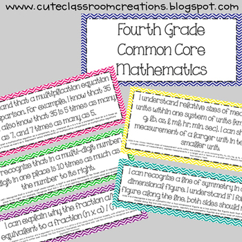 4th Grade Multi-Colored Chevron Common Core Objectives Combo Pack